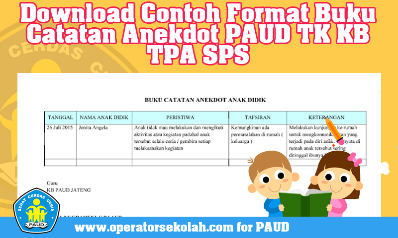 Download Contoh Format Buku Catatan Anekdot PAUD TK KB TPA SPS