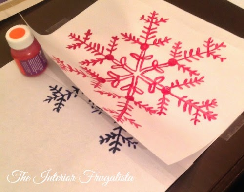 DIY Snowflake Pillow Painted Graphic