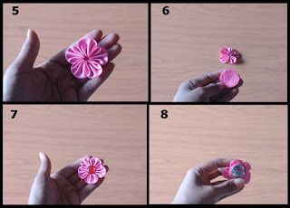 Gambar Tutorial Bross Bunga Kanzashi Sederhana part 2