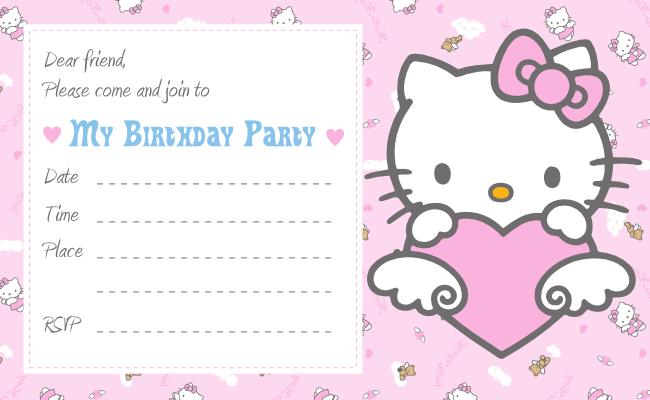 40th Birthday Ideas Hello Kitty Birthday Invitation