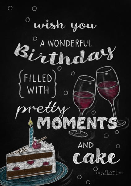 wonderful birthday, handlettering card, chalkboard