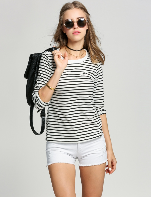 Fashion Women O-Neck Long Sleeve Striped Casual T-Shirt Tops