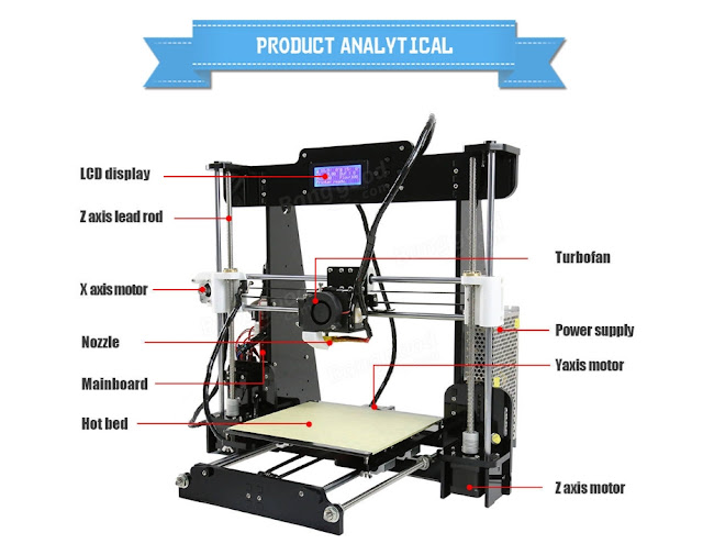 Anet® A8 3D Printer DIY Kit 1.75mm  0.4mm Support ABS  PLA  HIPS