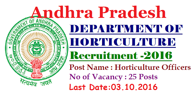 Government of Andhra Pradesh Recruitment 2016|GOVERNMENT OF ANDHRA PRADESH DEPARTMENT OF HORTICULTURE |OFFICE OF THE COMMISSIONER OF HORTICULTURE|Department of Horticulture, Government of Andhra Pradesh invites Applications for the post of 25 Horticulture Officers on Regular basis. Apply before 03 October 2016./2016/09/government-of-andhra-pradesh-recruitment-notification-for-horticulture-officers-office-of-commisioner-of-horticulture.html