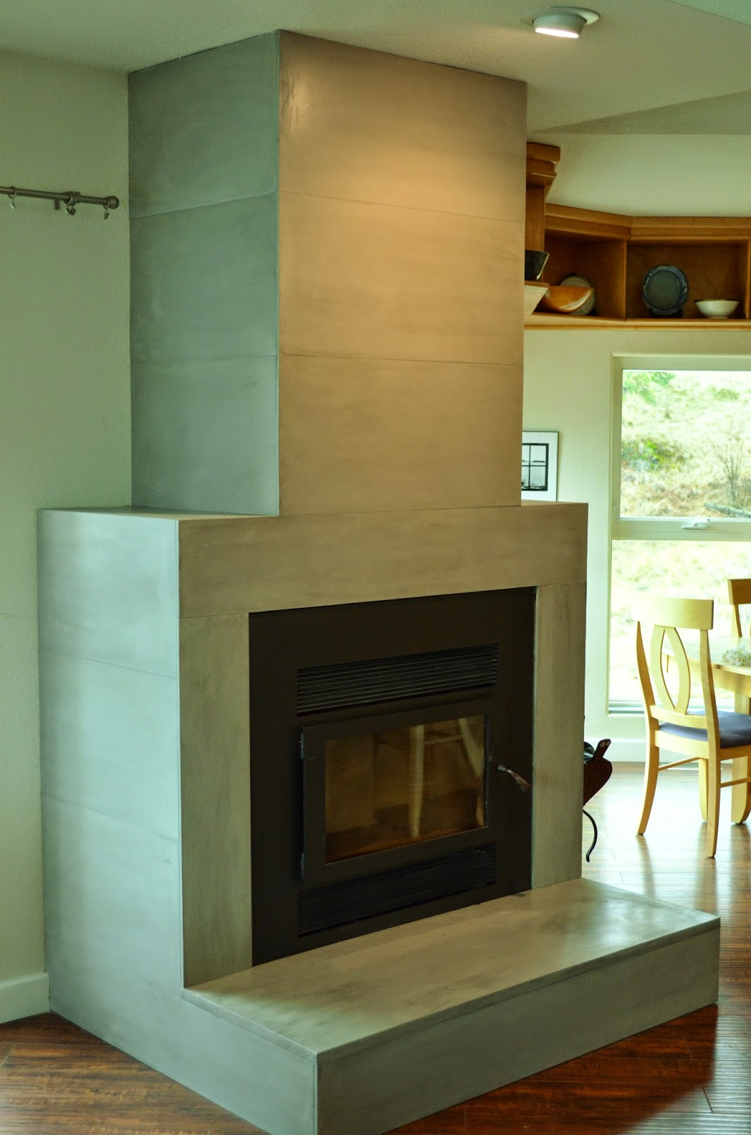Mode Concrete Contemporary Tiled Concrete Fireplace Large Format Ultra Thin Wall Tiles Made
