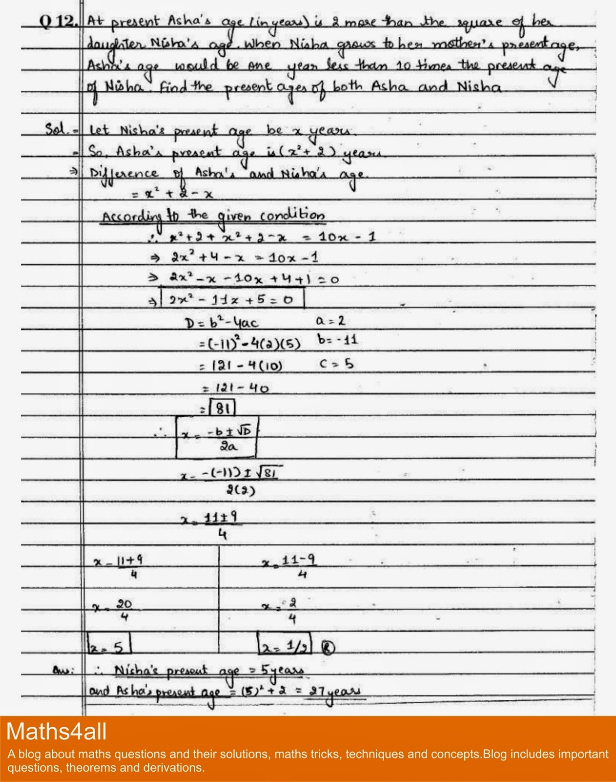 Maths4all Class X Important Questions Of Quadratic Equations Word Problems Q12