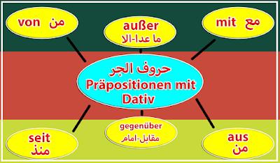 احرف الجر التي تأتي مع الداتيف Präpositionen mit Dativ