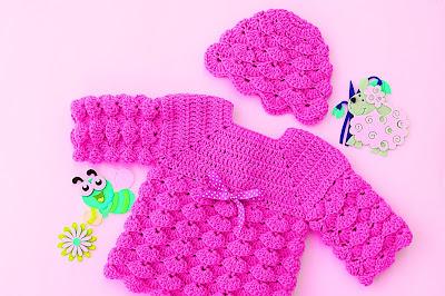 5 - Imagen gorro chambrita de abanicos en relieve a crochet. Majovel crochet