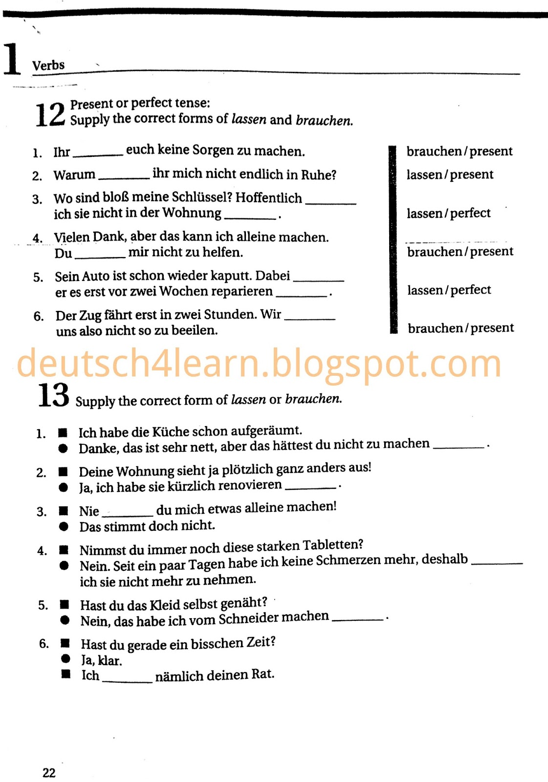 Exercise for German Basic Verbs