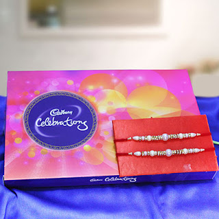Silver Rakhi with Chocolates