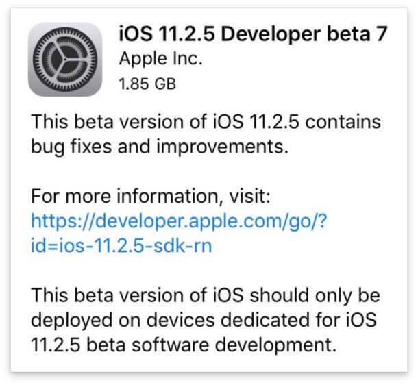 ابل تطلق iOS 11.2.5 Beta 7 للاختبار