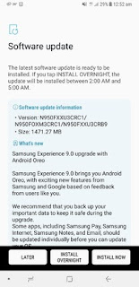 android 8.0 Oreo changelog for Samsung Galaxy Note 8 update