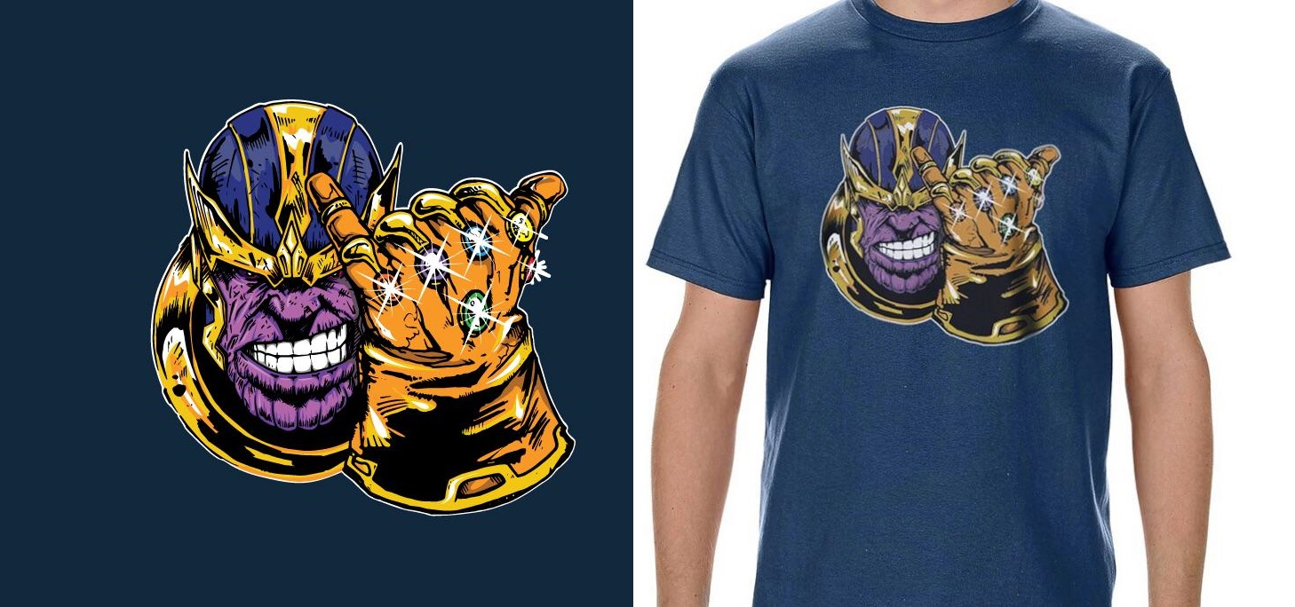 BAIT x Marvel Comics Men Infinity Gauntlet Thanos Long Sleeve Tee black
