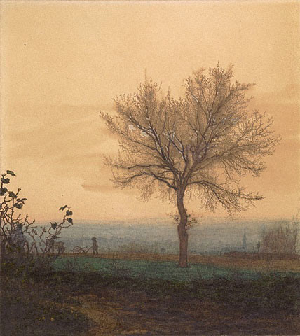 Léon Bonvin  French, Bare Tree and a Plowman via Getty Museum as seen on linen & lavender (l&l)