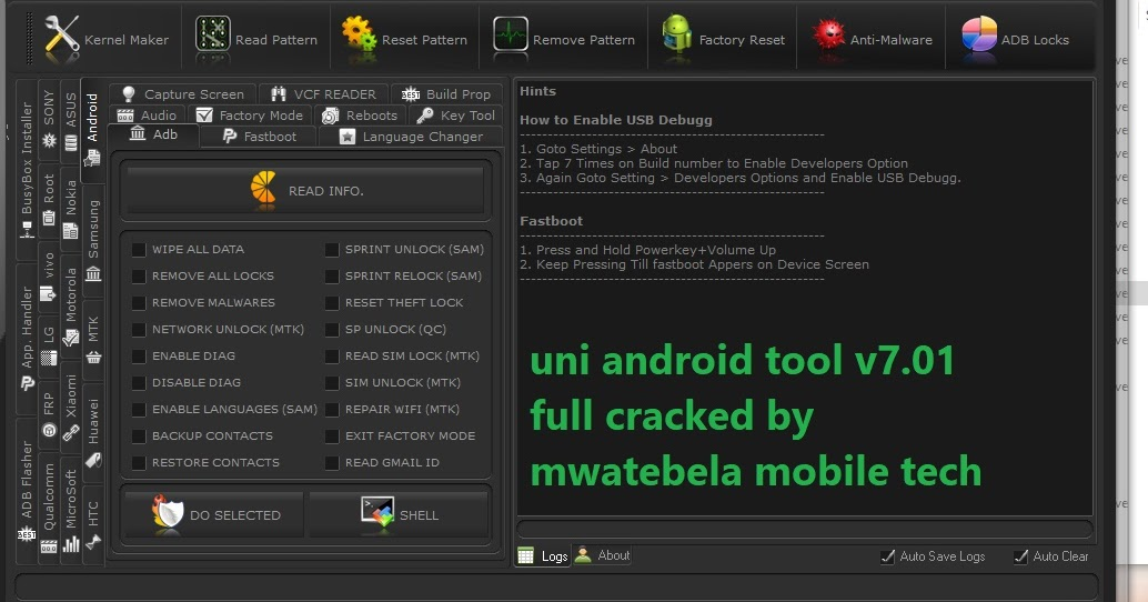 UNI ANDROID TOOL v7 01 FULL CRACKED BY MWATEBELA MOBILE TECH