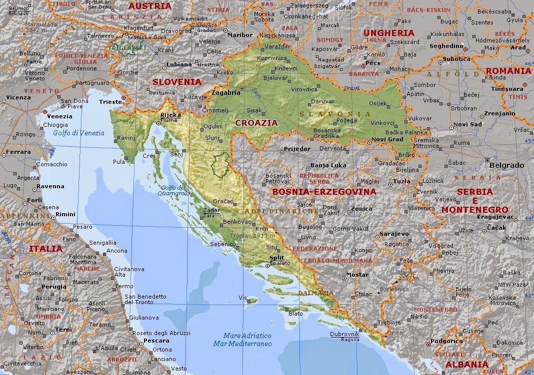 Cartina Slovenia Croazia Bosnia.Ripasso Facile Riassunto Geografia La Croazia