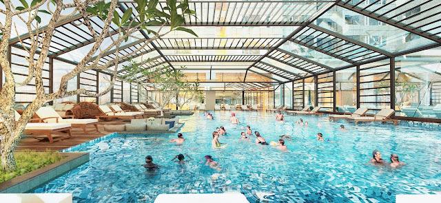 Không gian bể bơi rộng, đẳng cấp