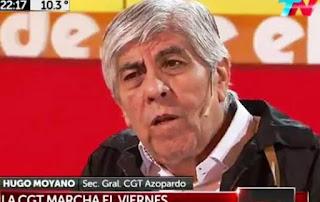 """En ese contexto, el secretario general de la CGT Azopardo, Hugo Moyano, afirmó esta noche que """"la movilización del viernes será un acto multitudinario""""."""