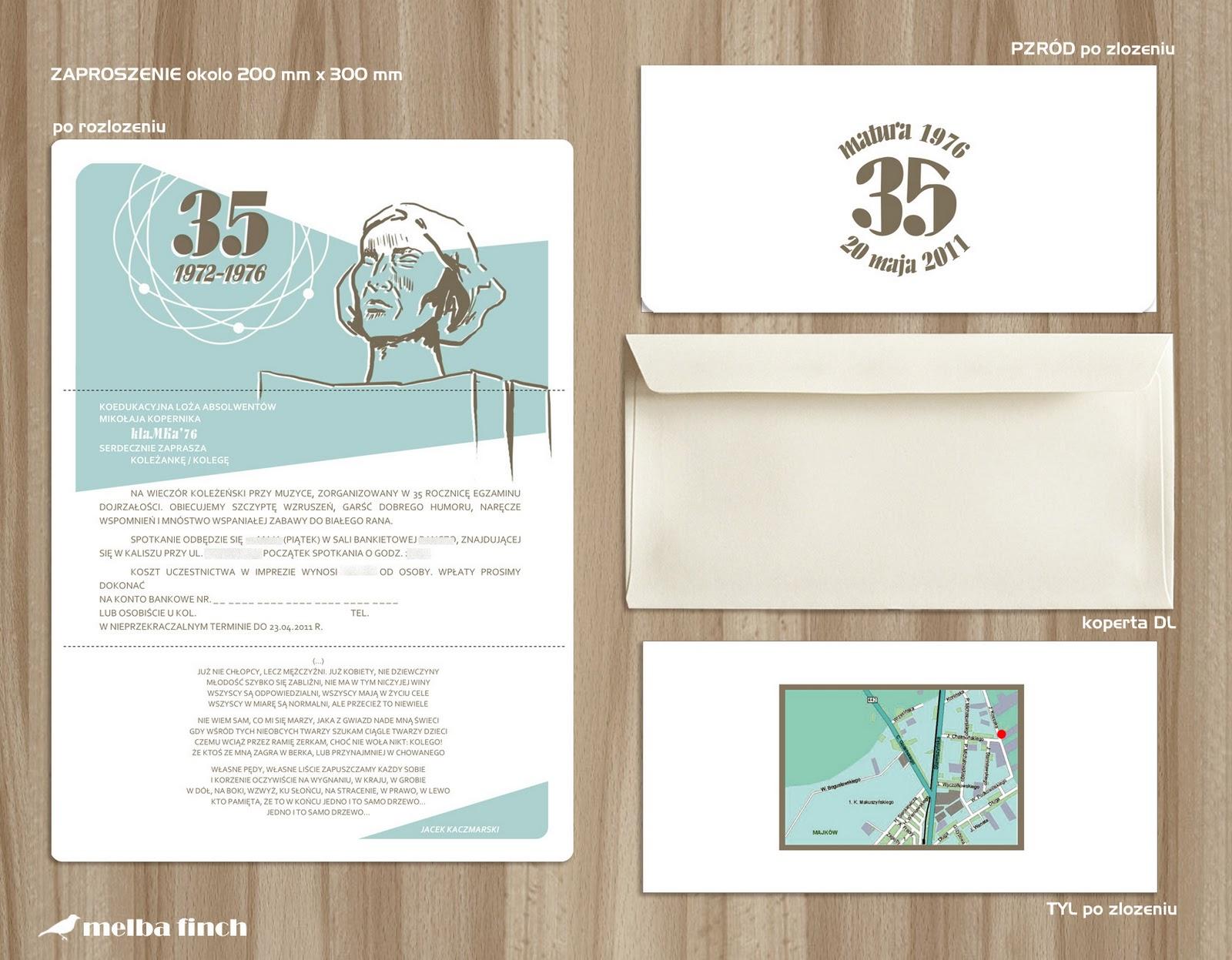 Pracownia Artystyczno Graficzna Zaproszenie Na 35 Lecie Matury