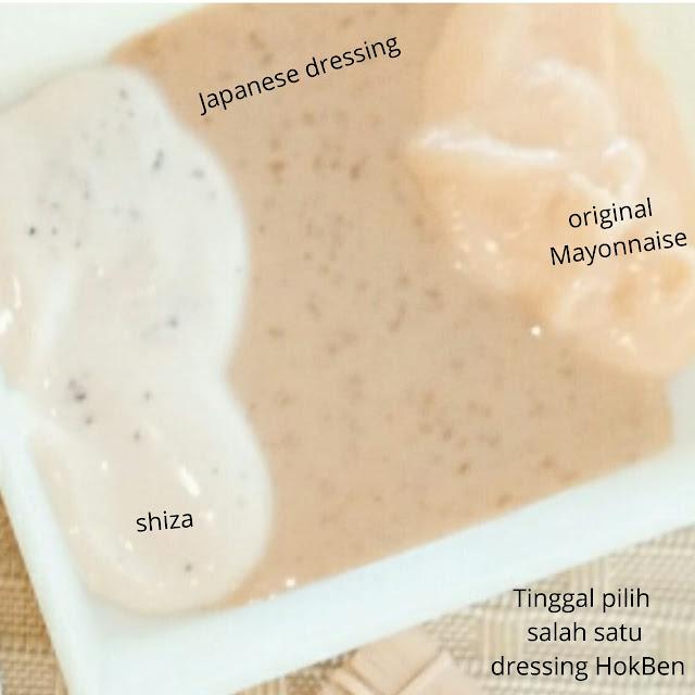 Dressing salad Hokben dengan 3 pilihan sauce Japanese sauce, shiza Dan original mayonnaise