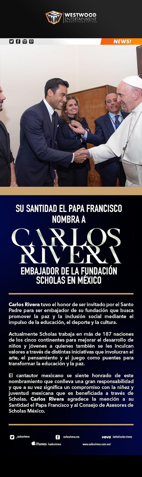 5dab2cd5114a Su Santidad el Papa Francisco nombra a Carlos Rivera embajador de la  fundación Scholas en México