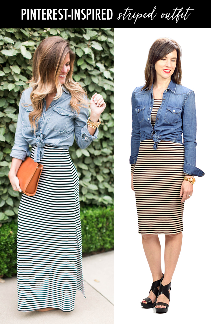 498c00ef91 Pinterest Inspired Striped Dress + Denim Shirt