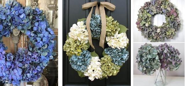 blue holiday flowers hydrangea decor