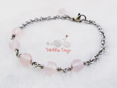 Wire Wrapped Minlet (Minima Bracelet) with Rose Quartz