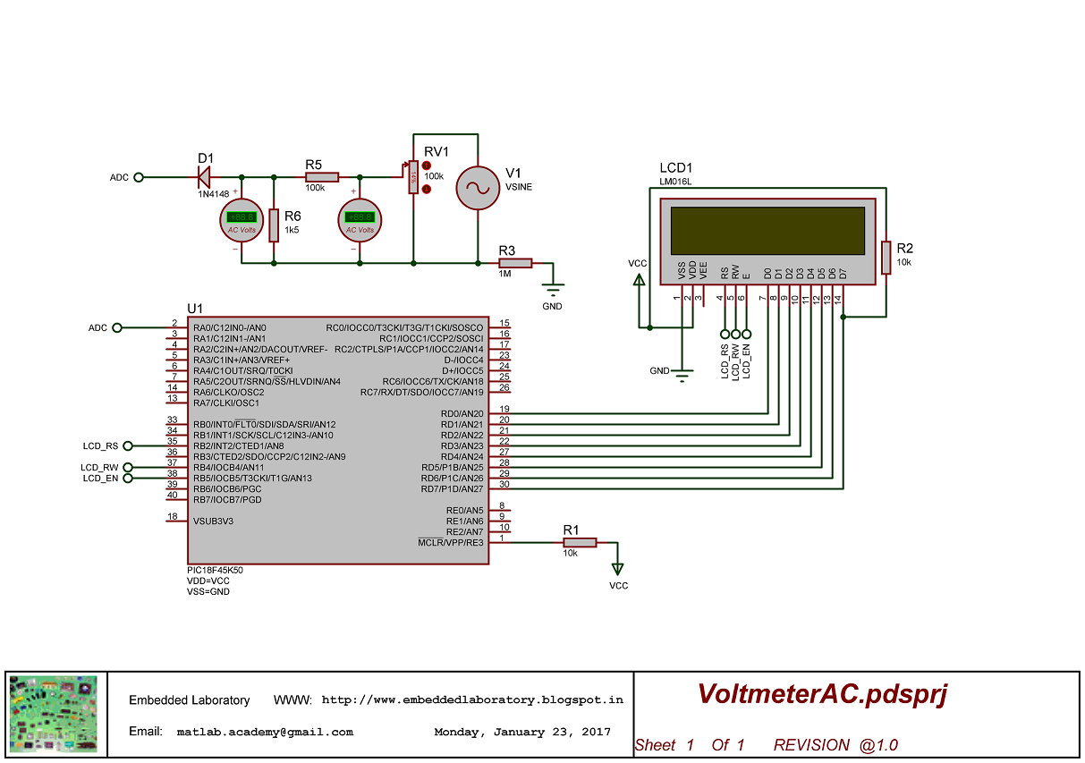 Ac Voltage Measurement Using Pic Embedded Laboratory Alternating Current Circuits Schematic Diagram