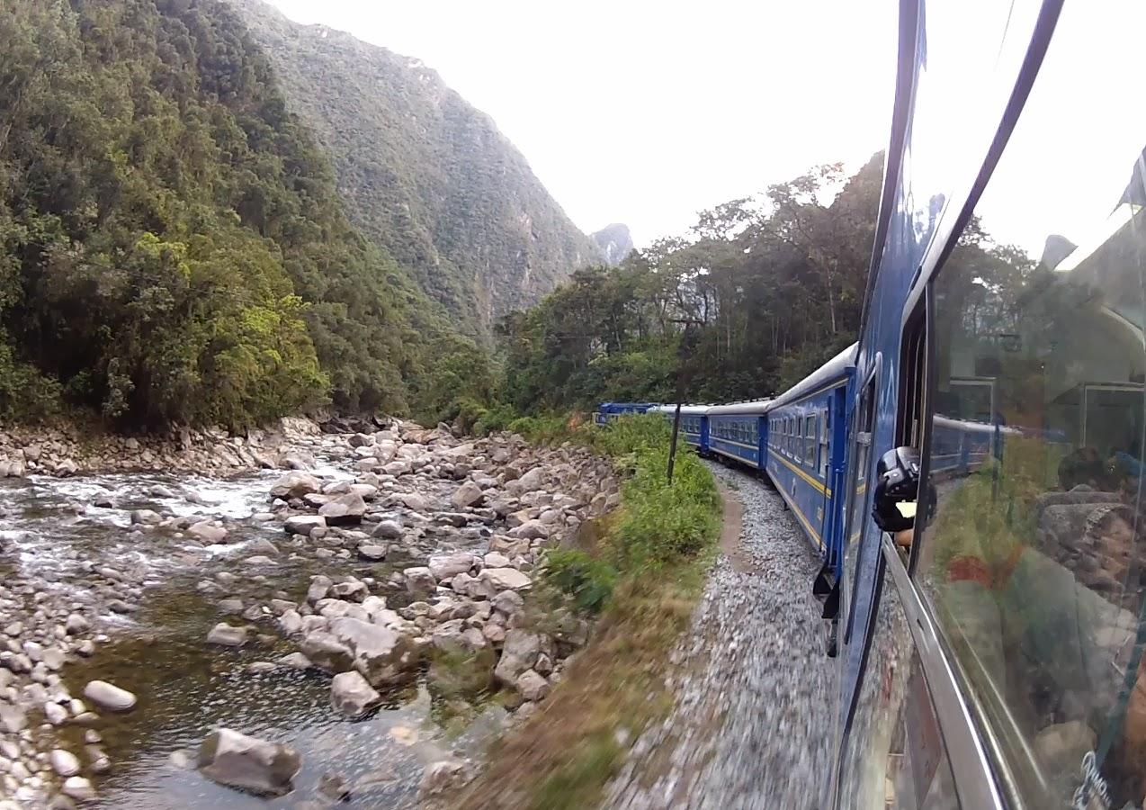 Trem, rio e muita vegetação.