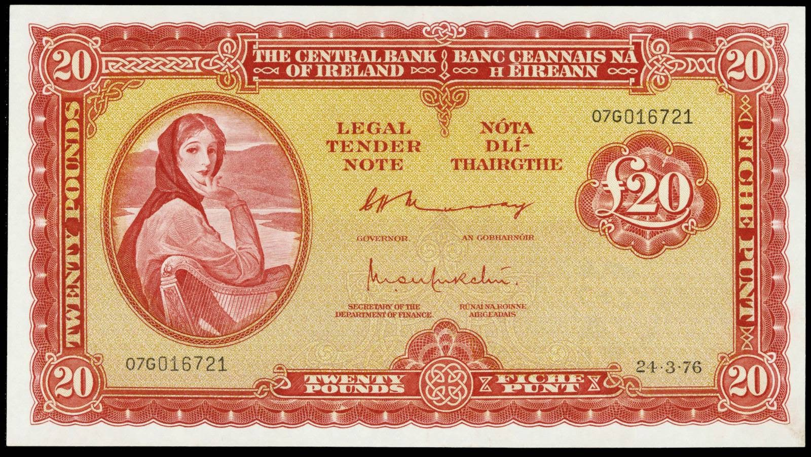 Ireland banknotes 20 Pound note Lady Lavery