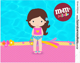 Etiqueta M&M de Fiesta en la Piscina para Niña Morena.