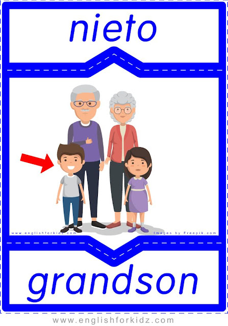 Grandson English-Spanish flashcards for the family members topic