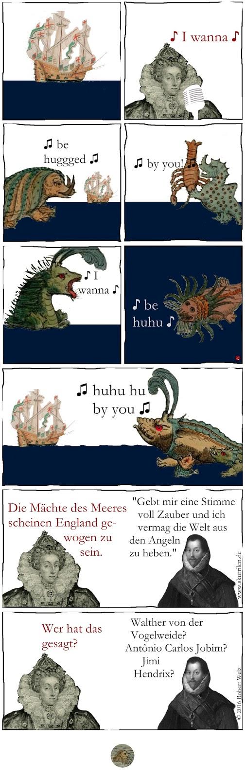 skurrile Comedy & Fantasy: Seeungeheuer, Monster & Fabelwesen aus der Carta Marina, einer historischen Seekarte aus dem Jahr 1539, singen ein Lied von Elisabeth I.