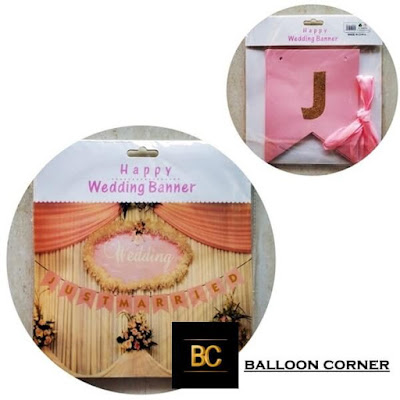 Bunting Banner Segilima JUST MARRIED (Glitter)