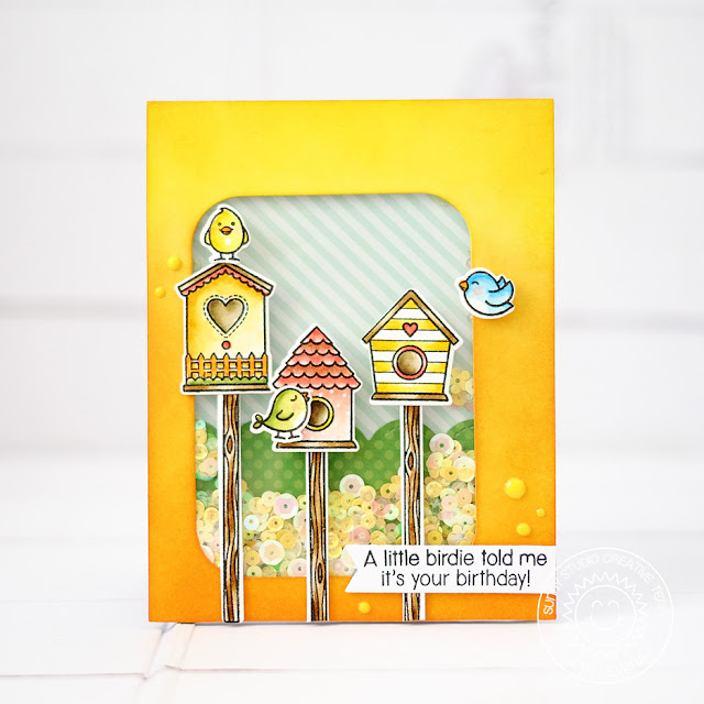 Sunny Studio Stamps: A Bird's Life Birdhouse Shaker Card by Lexa Levana
