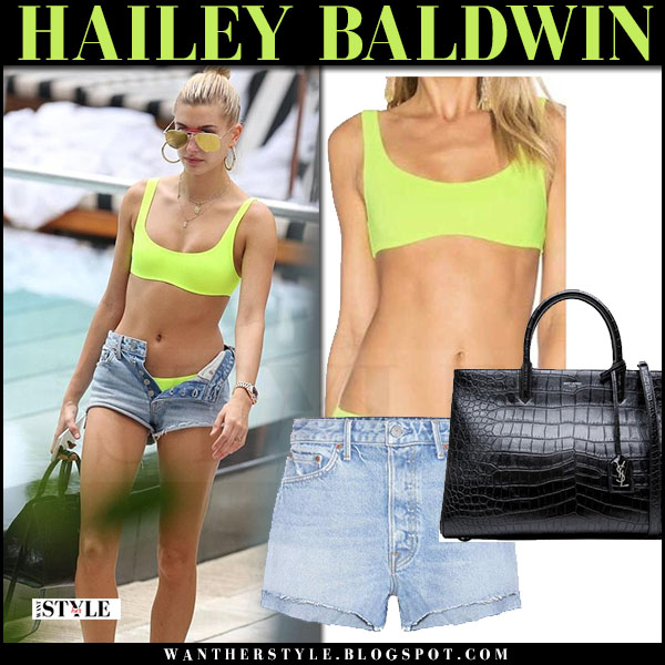 Hailey Baldwin in neon yellow bikini and denim shorts grlfrnd cindy what she wore june 9 2017