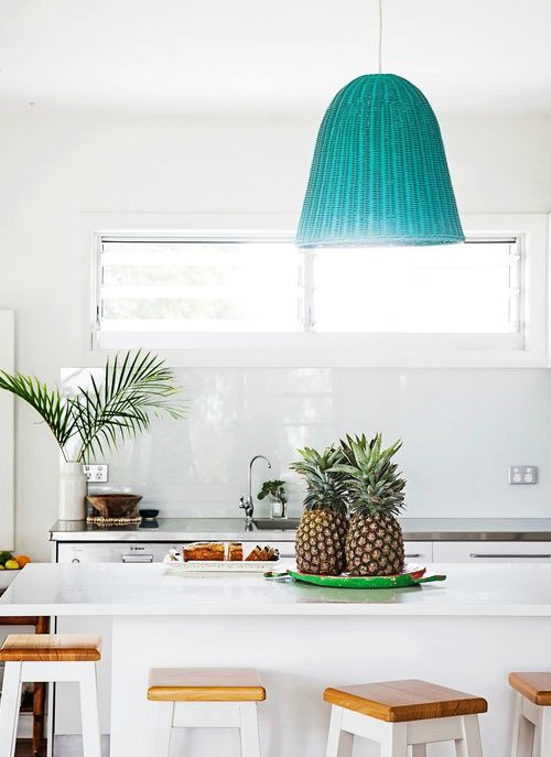 Beachy Blue Basket Hanging Light Pendant in Kitchen