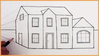 Lukisan rumah guna pensil dalam tiga dimensi