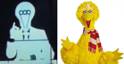 Humanoid with odd head juxtaposed with Big Bird, which looks the same