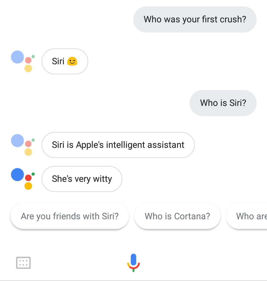 Hey Google, who was your first crush?