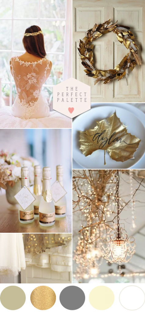 Golden winter wedding ideas the perfect palette for Winter wedding color palettes