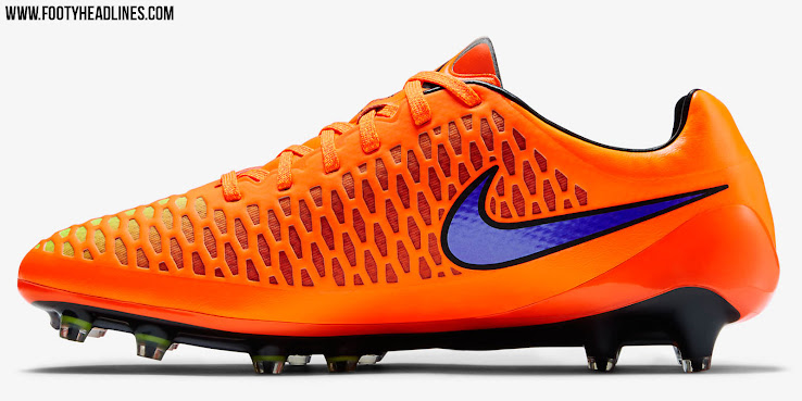 992c5f82d ... Orange with a shiny purple Swoosh. A volt / red honey comb upper  structure completes the bold design of the third Nike Magista 2015 Cleat  paint job.