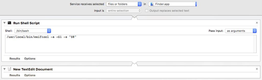 Prepression: Automator – DIY ExifTool GUI Services