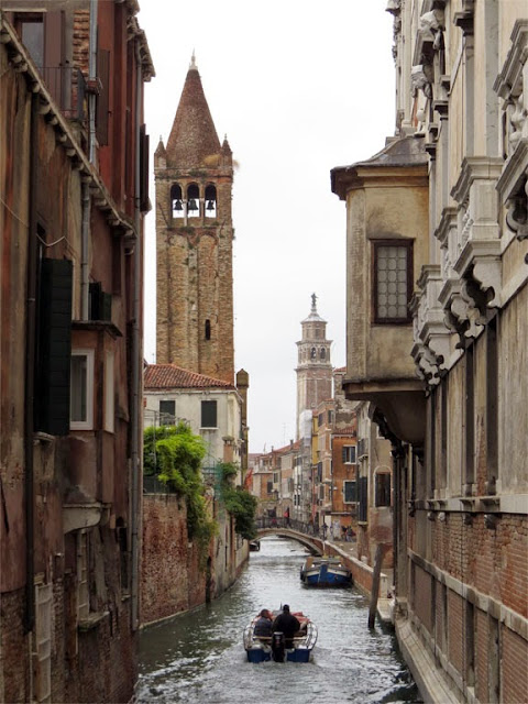 Rio di San Barnaba seen from the private bridge of Ca' Rezzonico, Dorsoduro, Venice
