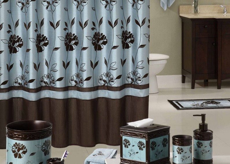 dark blue and brown shower curtain