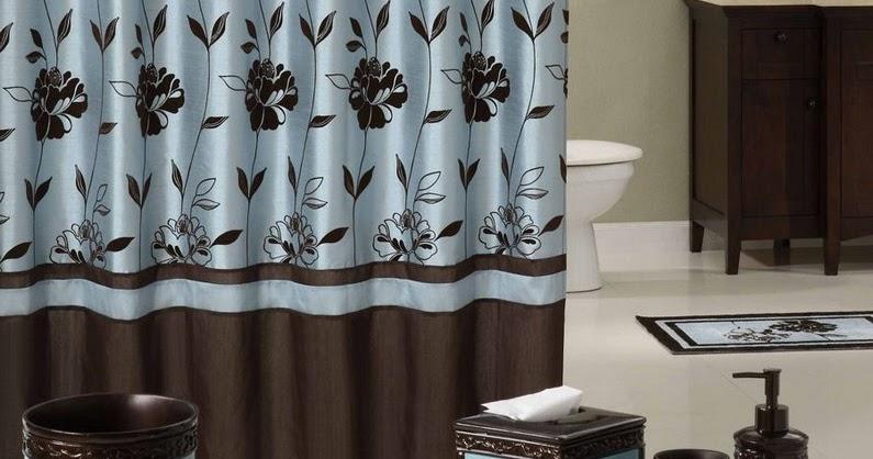 dark brown shower curtain.  Dark blue and brown shower curtain Home Garden Ideas