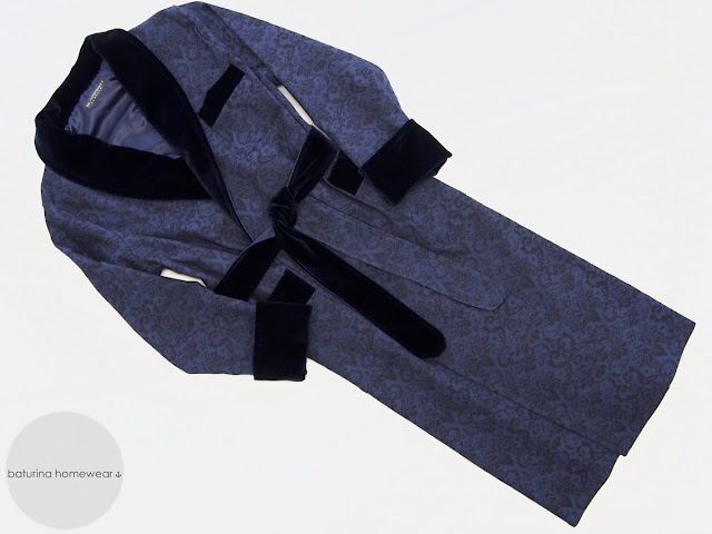 mens elegant stylish luxury dandy dressing gown robe navy blue warm long paisley cotton traditional
