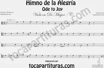Partitura del Himno de la Alegría fácil en Do Mayor e instrumentos de Clave de Do Viola
