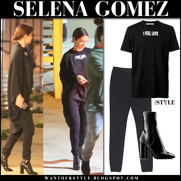 Selena Gomez in black t-shirt i feel love, black sweatpants and black patent boots street fashion january 3